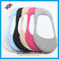 Naturally Breathable Dots Design Women's Ultra Low Cut Liner Sock Shoe Liner No Heel Sock