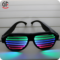 Newest Design Shenzhen Factory Wholesale Crazy Party Glow In Dark Shutter Voice Activated Logo Printing Sunglasses