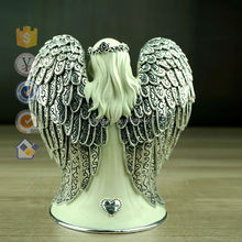 Wholesale large Standing Angel with Metal plating angel wings for Home Decors