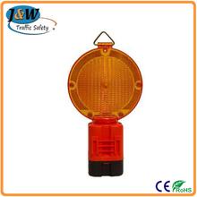 Yellow Solar Flashing LED Warning Light / Traffic Warning Light