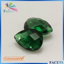 FACETS GEMS Synthetic Faceted Glass Beads Pear Cut Glass Emerald Rough