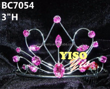 horse eye crystal pink pageant tiara