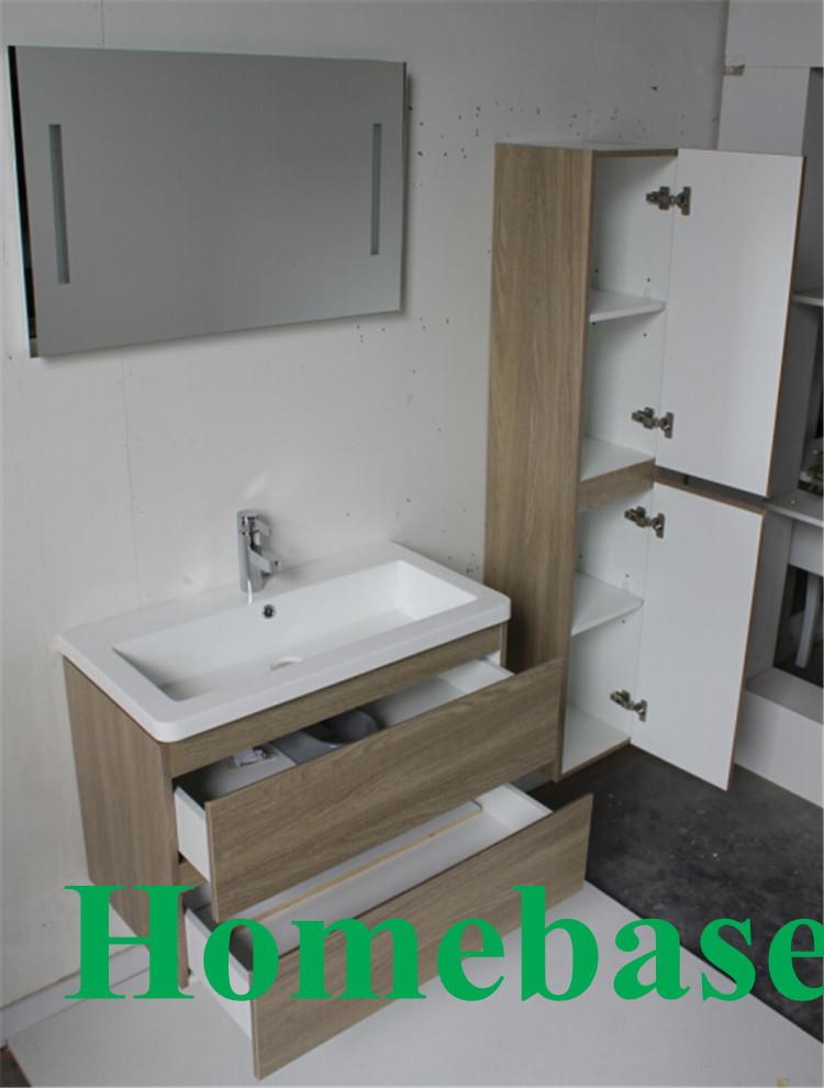Mfc salle de bains meuble lavabo avec armoire lat rale for Armoire de salle de bain avec miroir et lumiere