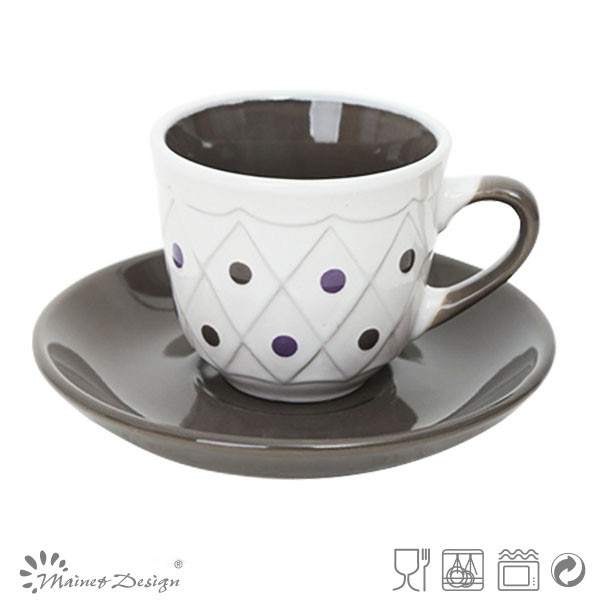 6.5oz 노란색 두- 톤 컵과 받침 접시/ 커피 잔과 접시 세라믹-컵 ...