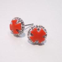 red turquoise cross set czech stones 925 sterling silver stud earring jewelry