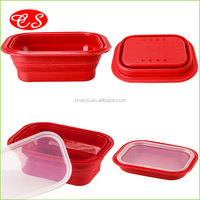 Custom kitchen food container silicone folding lunch box,100% food grade recyclable bento lunch box