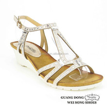 new arrival china wholesale high quality white wedge heel crystal nude soft women sandals 2015