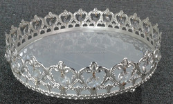 crown cake stand , metal cake stand , crystal decor serving fruit tray