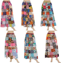 Indian Women Patchwork Long Skirt-Gypsy Hippie Cotton Skirts with Patch work-Designer Indian skirt