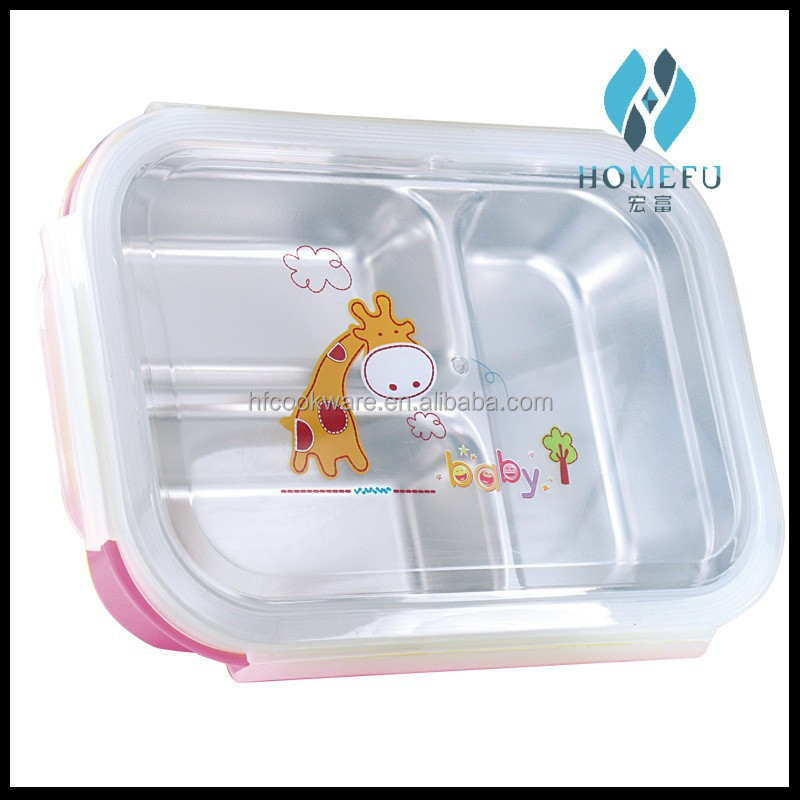 stainless steel bento lunch box containers with 3 compartments for children made in china buy. Black Bedroom Furniture Sets. Home Design Ideas