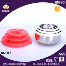 healthy stainless steel hot pot food casserole with plastic lid