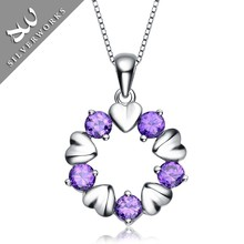 Colorful Heart shape silver pendant necklace with 925 sterling silver chain