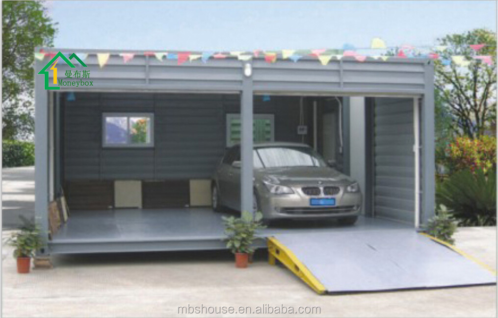 Prefabricated garage prefab container carport single for Single garage with carport