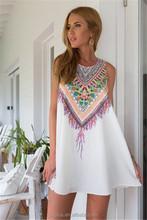 2015 Summer Women'S O-Neck Sleeveless Dresses Casual And Simple Sexy Strapless Loose Mini Dress Bohemian Beach Vestidos