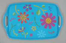 Customize Blue Melamine Serving Tray With 2 Handle