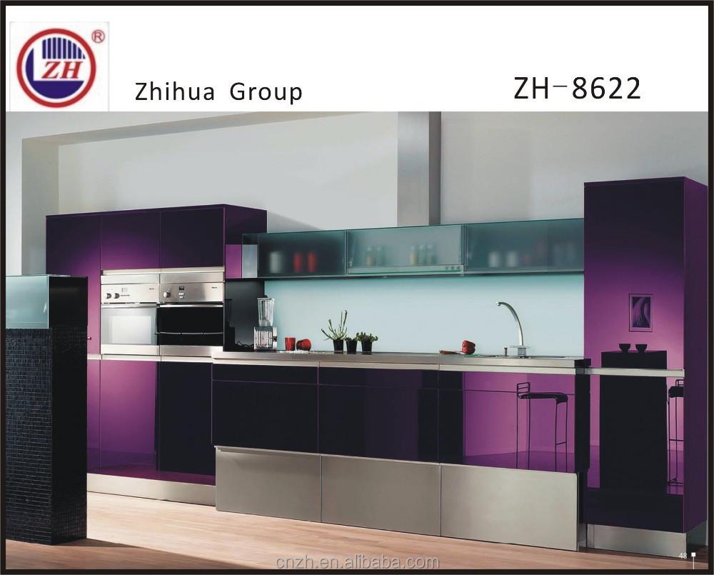 elegante paarse kleur keuken kast meubels met grote mand en frosted