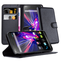 Premium Lichee Patern Wallet Phone Case Cover With Stand For Wiko Wax