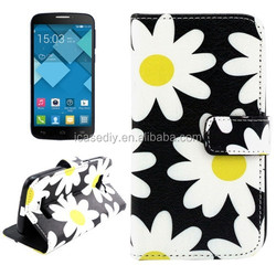 Flower Pattern Cross Texture Leather Case for Alcatel One Touch Pop C7