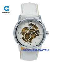 Automatic skeleton leather lady hand watch with white color