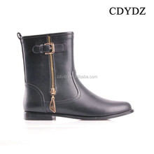 CDYDZ R1281-F7843 Europe and America double zipper leather buckle square with flat shoes black Boots for women 2015 fashion sexy