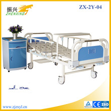 Good Price Two Cranks Cheap Hospital Bed with Adjustable Side Rail and Crash Proof Braking Castor
