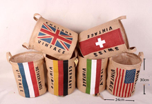 Nation Country Flag Style Cotton Fabric Multipurpose Kids Storage Bin