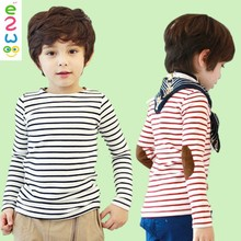 2015 New Design Boys Cotton Long Sleeve Breathable Children Stripe T Shirt