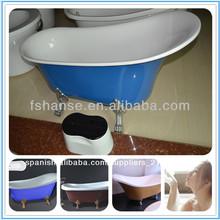 Hs-b518 venta caliente rollo de baño de arriba, bañera real, de clawfoot bañera de color rojo