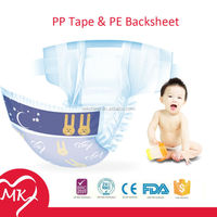 Most economic with PP tape and PE backsheet feeling plastic diaper pants