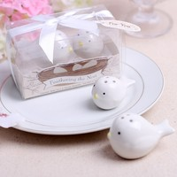 wedding favor gift and giveaways for guest--Feathering the Nest Ceramic Birds Salt & Pepper Shakers party souvenir 100pcs/lot