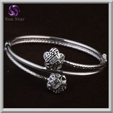 Simple twisted solid silver flower bracelet bangle oxidized