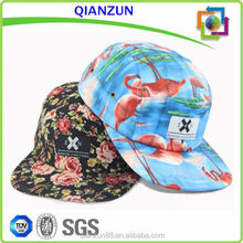 Hot Sale Custom 100%Polyester Floral 5 Panel Snapback Hat And Cap