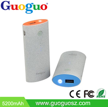 Guoguo 2015 New Rock LED Light Mobile Charger Portable 5200mah Best Power Bank for xiaomi,iphone