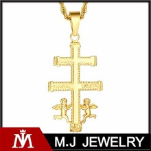 Gold stainless steel cross pendant with angel