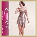 2015 venta al por mayor de moda de las señoras satén falda llaves camisón sexy ropa de dormir