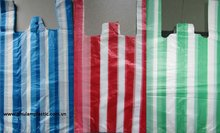 Striped white / red /green/blue candy bags, T-shirt HPDE plastic 14 16x52mm, 16 mic