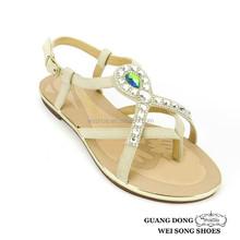 bright rhinestone ornament upper ladies shoe new design fashion flat summer women handmade leather sandals 2014