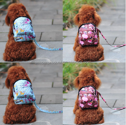 Pet Dog Bag Backpack With Leash Cute Outdoor Travel Snack Bag 4 Color For Choose