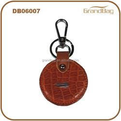 Round Shape Crocodile Skin Elegance Grace Genuine Leather Gifts Metal Keychains Key Ring Holder Key Fob