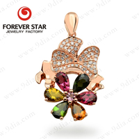 Jewelry Wholesale in China New Arrival Rose Gold Pear Shape Gemstone Jewelry New Design Gold Pendant Necklace