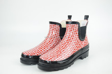 Women's fashion black and red Rubber Snow & Rain Boots