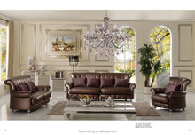 FS030 contemporary antique classic genuine thick leather post modern European chesterfield living room salon leather sofa