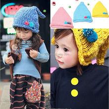 Children's fashion sharp wool baby hat with ear