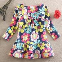 Fashion girls clothing one-piece princess dresses spring long sleeve dresses for girl