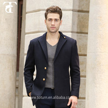 2016 New Fashion Dark Blue Color Dust Coat Winter Slim Fit Trench Coat For Men