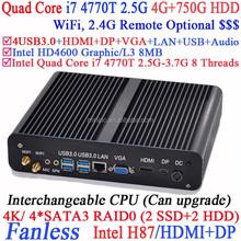 Sin ventilador los mini pc con Windows i7 con Intel i7 Quad Core 4770 T 2.5 Ghz CPU VGA DP display tres 4 G RAM 750 G disco duro Linux o Windows