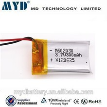 602030 li-polymer battery 3.7v with 300mah li-polymer rechargeable battery for MP3/MP4