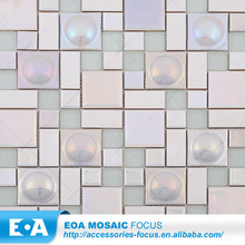 Home Decor Frosted Glass Blending Iridescent Ceramic Mosaic Tile