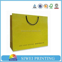 Custom new design recycled printing yellow paper small gift bags