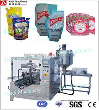 Rotary automatic liquid pouch filling and sealing machine